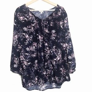 Sonoma Womens Navy Tassled Floral Top Size XL